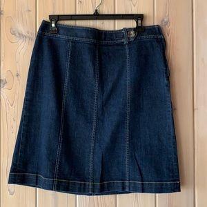 Ann Taylor Petites Dark Denim Skirt w Button